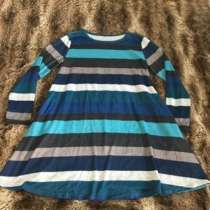 Boutique striped blues, black and gray dress!